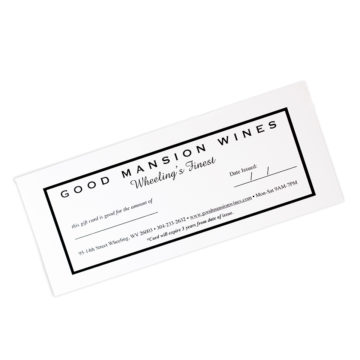 Gift card certificate good mansion wines
